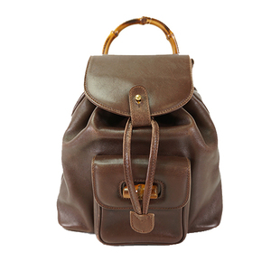 Auth Gucci Backpack Bamboo Brown Gold