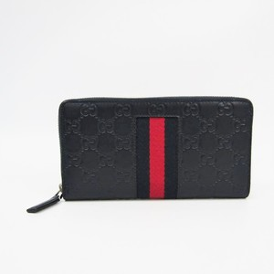 Gucci Web 408831 Unisex GG Leather Long Wallet (bi-fold) Navy,Red