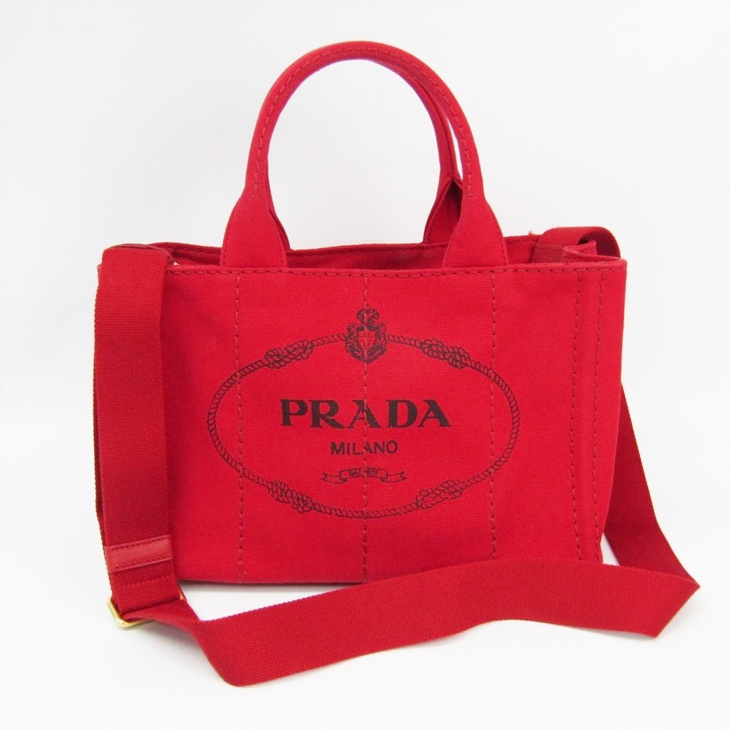 6ae4f50d7e8b Details about Prada Canapa 1BG439 Women s Canvas Tote Bag Red BF335298