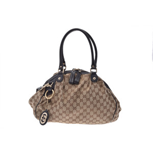 Gucci GG Canvas 2WAY Handbag Leather Handbag Beige,Black