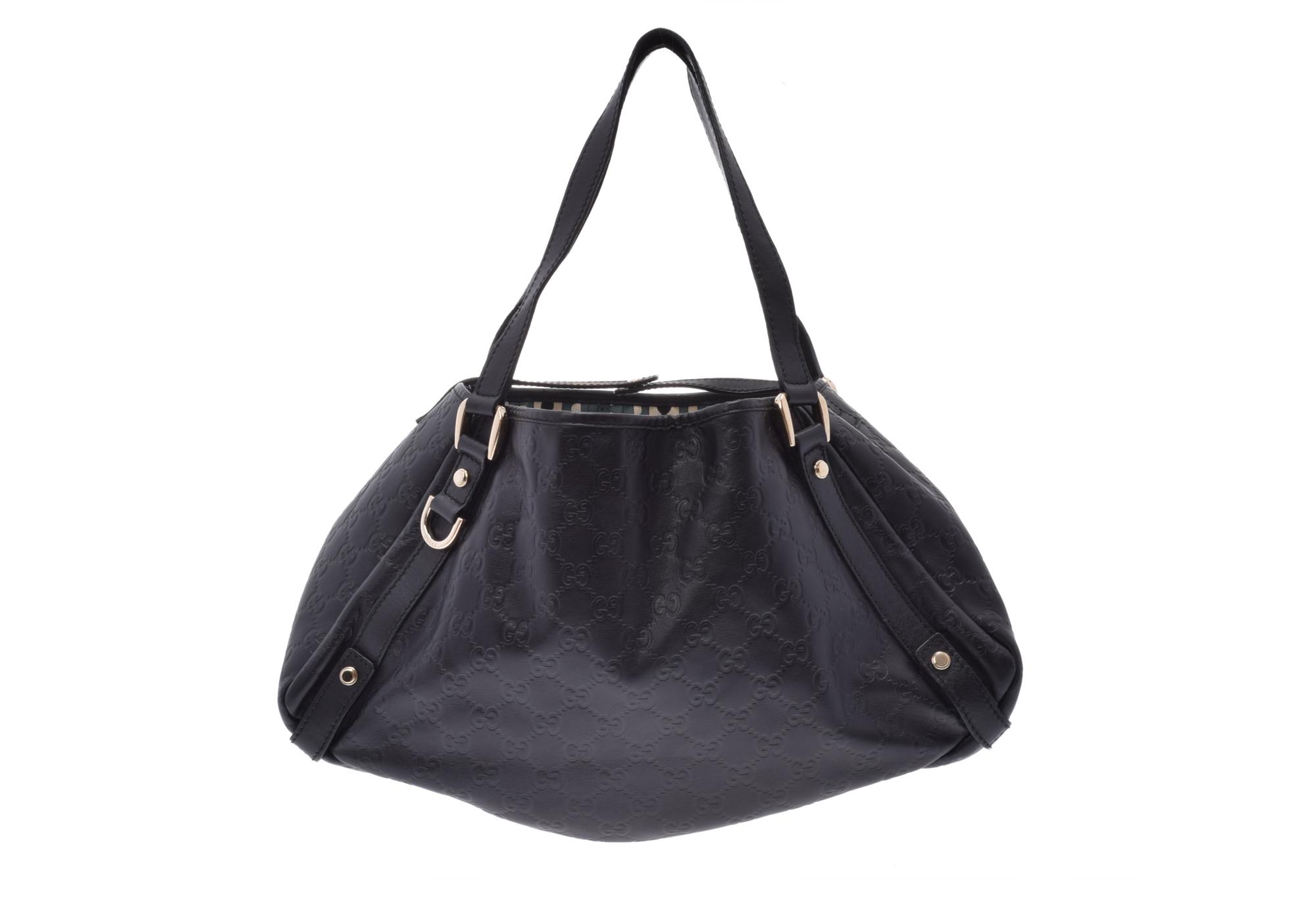 a57066e9093 Authentic Gucci Guccissima Leather Tote Bag Black 805000921623000