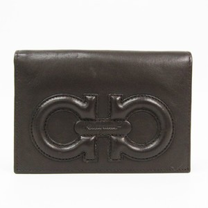 Salvatore Ferragamo Gancini 227554 Women's Leather Wallet (bi-fold) Dark Brown