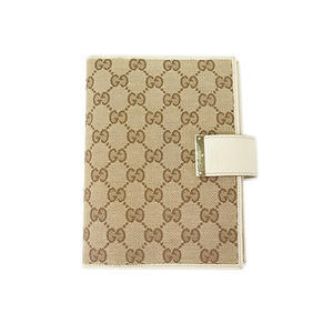 Auth Gucci Planner Cover GG Canvas White Beige