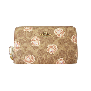 Auth Coach Long Wallet Signature Beige Gold