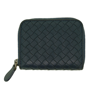 Auth Bottega Veneta Coin Purse Intrecciato Navy