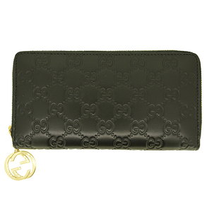 Auth Gucci Long wallet Guccissima Round Zipper Black Gold