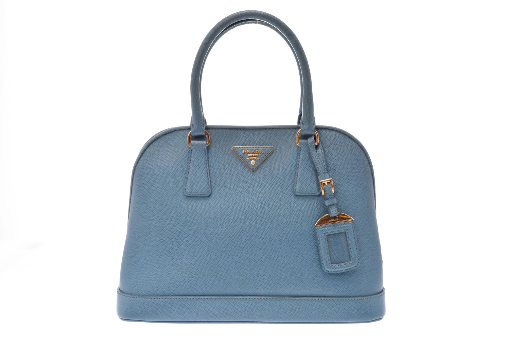 Details About Prada Saffiano 2way Handbag Leather Light Blue 805000921679000