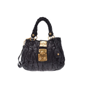 ミュウ・ミュウ(Miu Miu) マトラッセ 2WAY handbag レザー ハンドバッグ,ショルダーバッグ ブラック