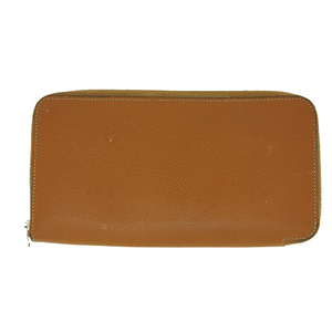 Auth Hermes Azap Silk Inn Long Wallet □R Stamp Brown