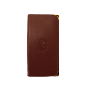 Auth Cartier Bi-fold Longwallet Must De Cartier Leather Bordeaux