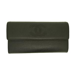 シャネル 二つ折り長財布 レザー  A70265 ブラック