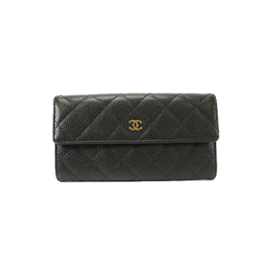 0b27a1ce0df29a Auth Chanel Bi-fold Longwallet Caviar Leather Black