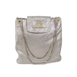 Chanel 2.55 Chain Punching Bag Women's Shoulder Bag Silver