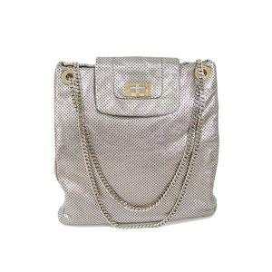 Chanel 2.55 Leather Shoulder Bag Silver