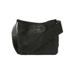 Auth Salvatore Ferragamo Shoulder Bag Gancini Corduroy Black