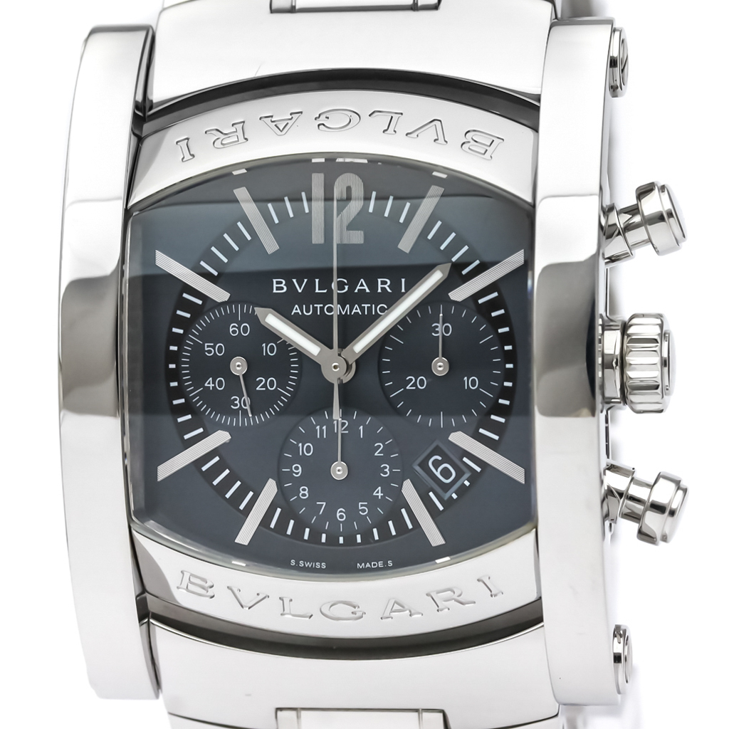 4d1b3d5fa1d Polished BVLGARI Assioma Chronograph Steel Automatic Mens Watch AA44SCH  BF332847