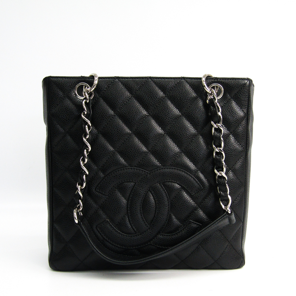 Chanel Caviar Skin Petit Shopping Tote PST A20994 Leather Tote Bag Black