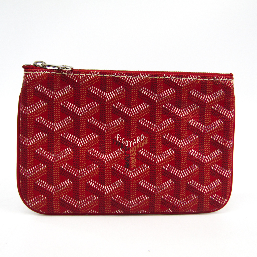 Goyard Senat Mini Women's Canvas,Leather Pouch Red