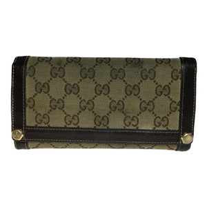 Auth Gucci 154168 Long Bi-fold Wallet GG Canvas Brown