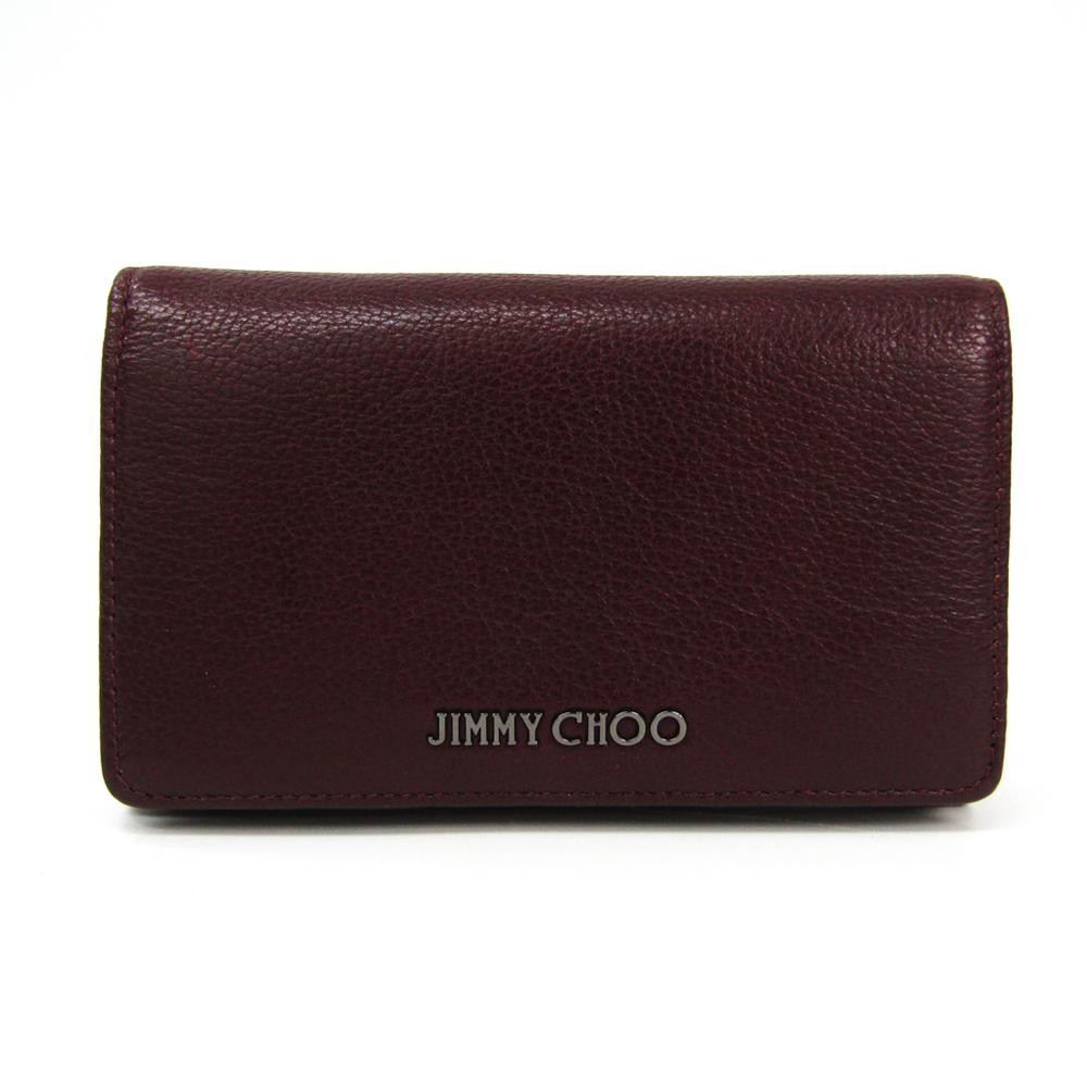 Jimmy Choo Women's Leather Middle Wallet (bi-fold) Bordeaux
