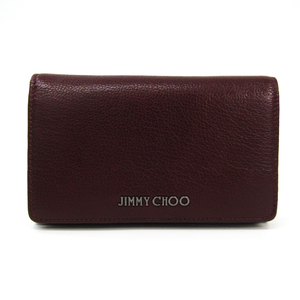 Jimmy Choo Women's Leather Middle Wallet (bi-fold) Bordeaux