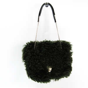 Celine Small Chain Bag 178523AHF.15LK Women's Fur,Leather Handbag Green