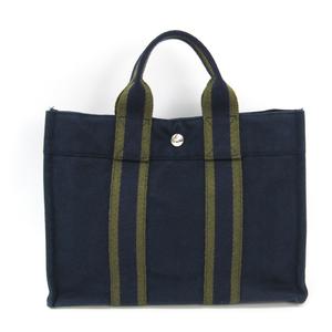 Hermes Fourre Tout Fourre Tout PM Cotton Canvas Tote Bag Khaki,Navy
