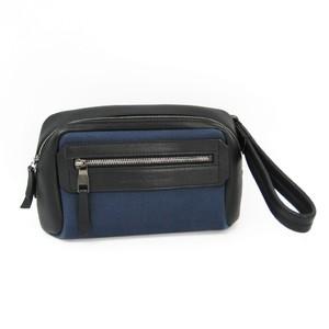 Salvatore Ferragamo 24 0316 Men's Canvas,Leather Clutch Bag Navy,Black