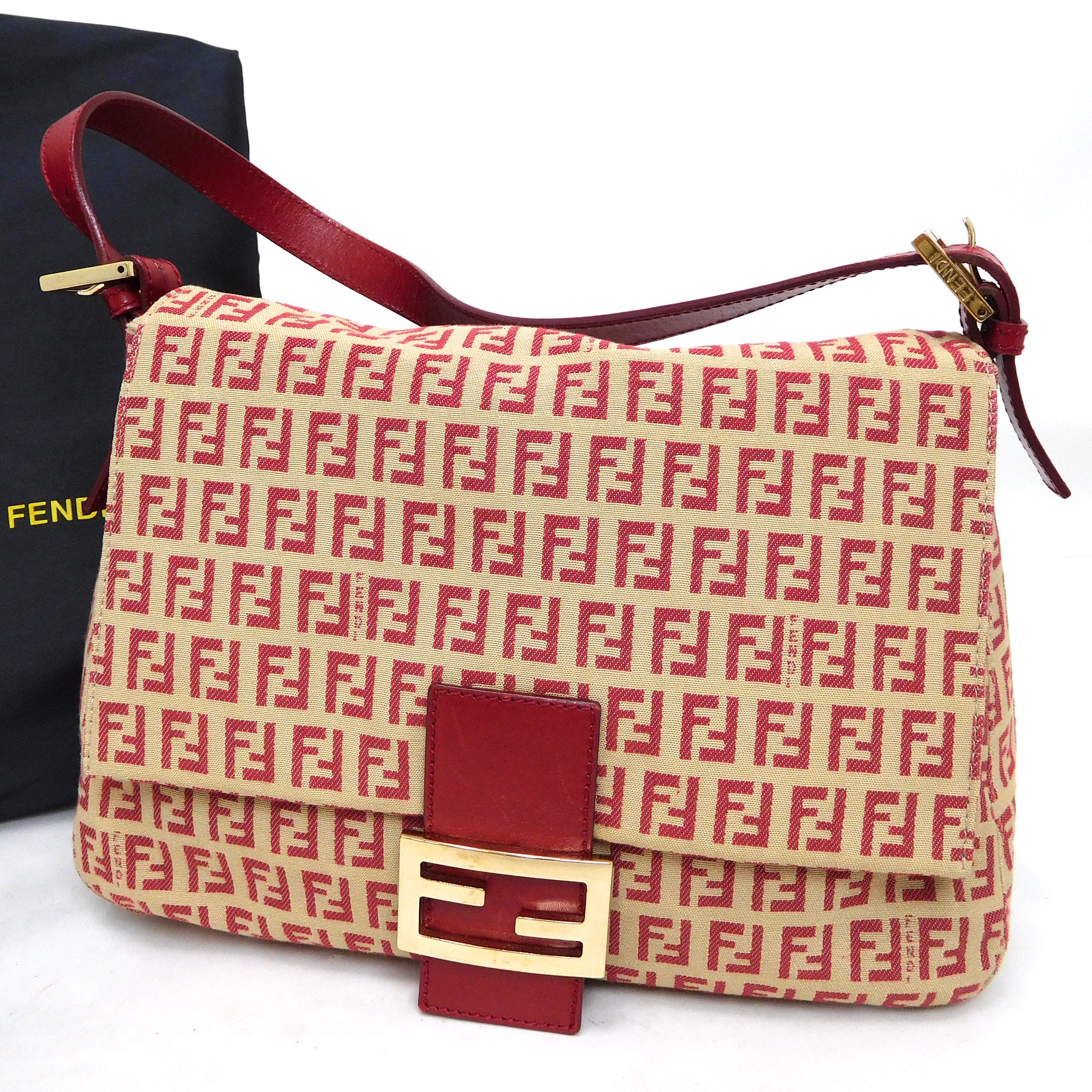 3a883efab9 Auth Fendi Zucchino Mamma Baguette 8BR001 Women s Leather