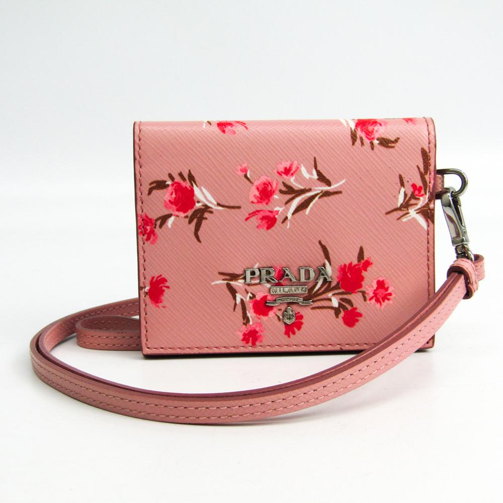 Prada 1MC006 Saffiano Card Case Multi-color,Pink