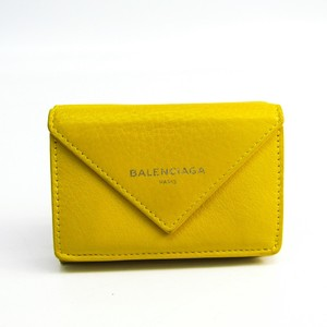 Balenciaga Paper Mini Wallet 391446 Women's Leather Wallet (tri-fold) Yellow