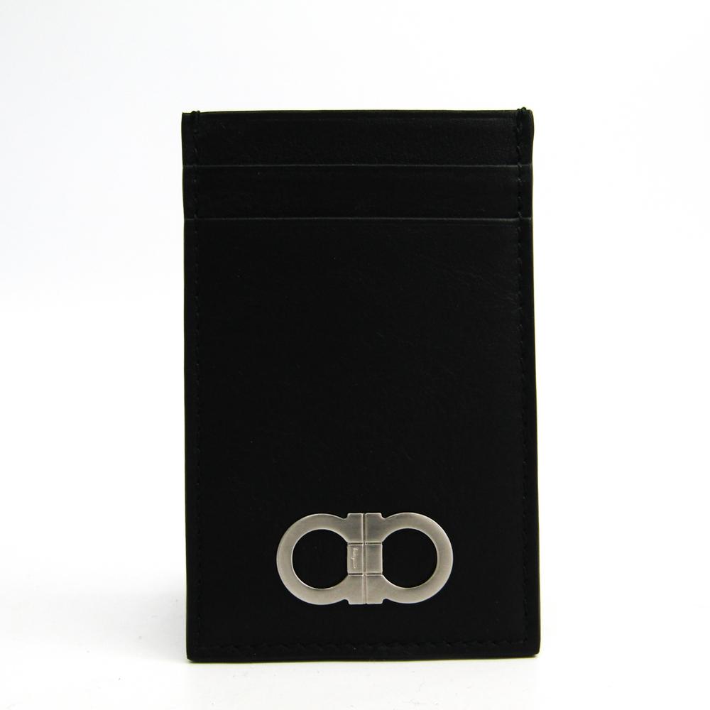 Salvatore Ferragamo Gancini 66 0732 Leather Card Case Black