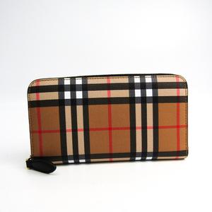Burberry Vintage Check Leather 4071416 Women's Leather,Elastane Long Wallet (bi-fold) Beige Brown