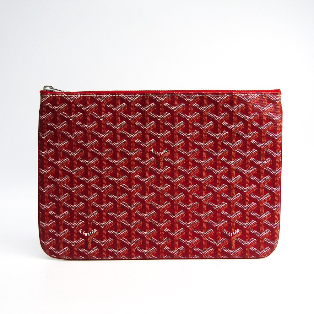 Goyard Senat MM Unisex Canvas,Leather Clutch Bag Red