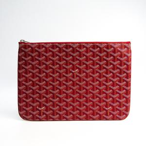 Goyard Senat MM Unisex Canvas,Leather Clutch Bag Red