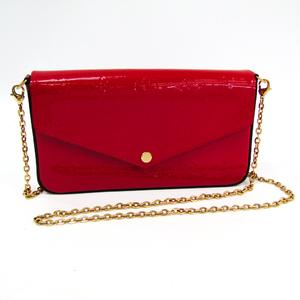 Louis Vuitton Monogram Vernis Pochette Felice M61293 Women's Monogram Vernis Chain/Shoulder Wallet Cerise