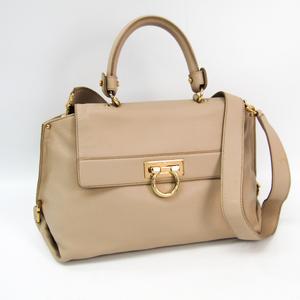 Salvatore Ferragamo Gancini Medium Sophia 21 A896 Women's Leather Handbag,Shoulder Bag Beige