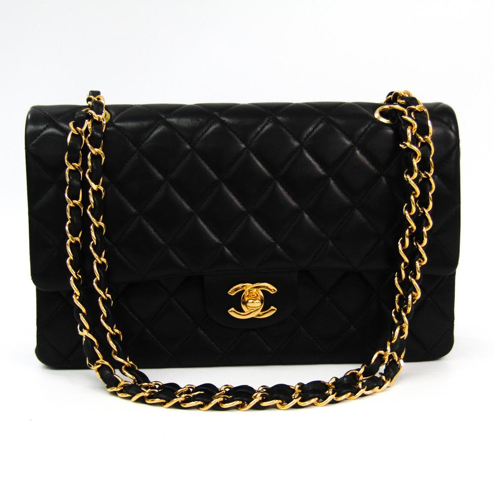 Chanel Matelasse Double Flap Double Chain Bag A02800 Leather Shoulder Bag Black