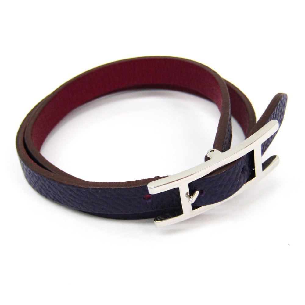 Hermes Hapi De Bretair Leather Bracelet Bordeaux,Purple