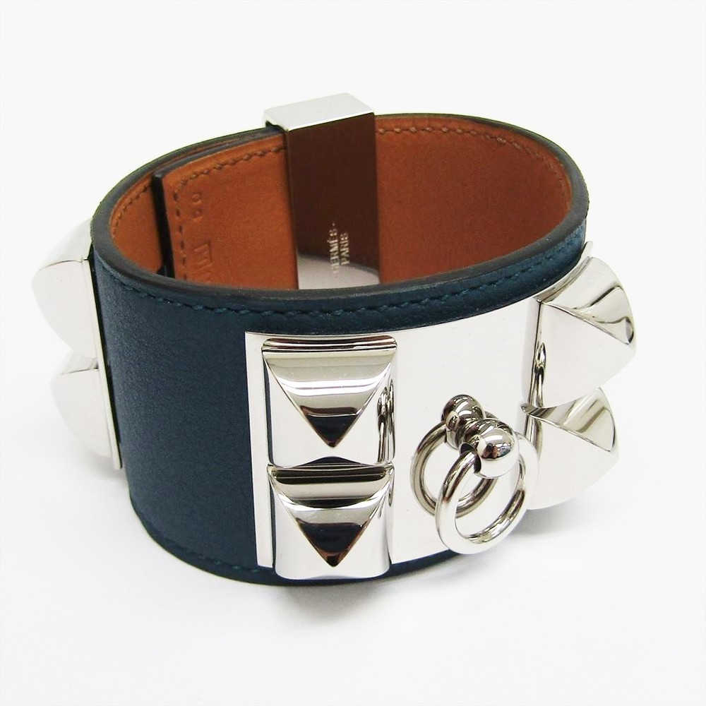 Hermes Collier De Chien Leather Bracelet Dark Blue,Silver