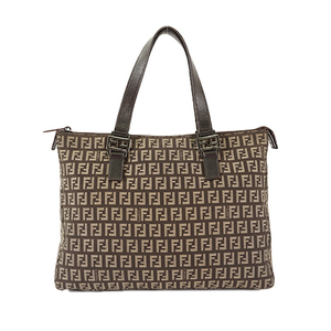 Auth Fendi Tote Bag Zucchino Brown Silver