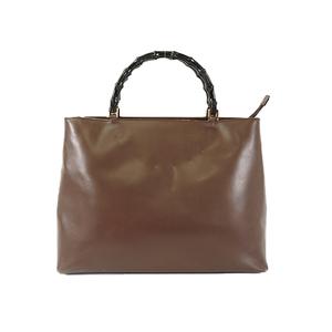 Auth Gucci Handbag Bamboo Brown Gold