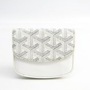 Goyard PTE MONNAIE BOETIE APM105 Unisex Leather,Canvas Coin Purse/coin Case White