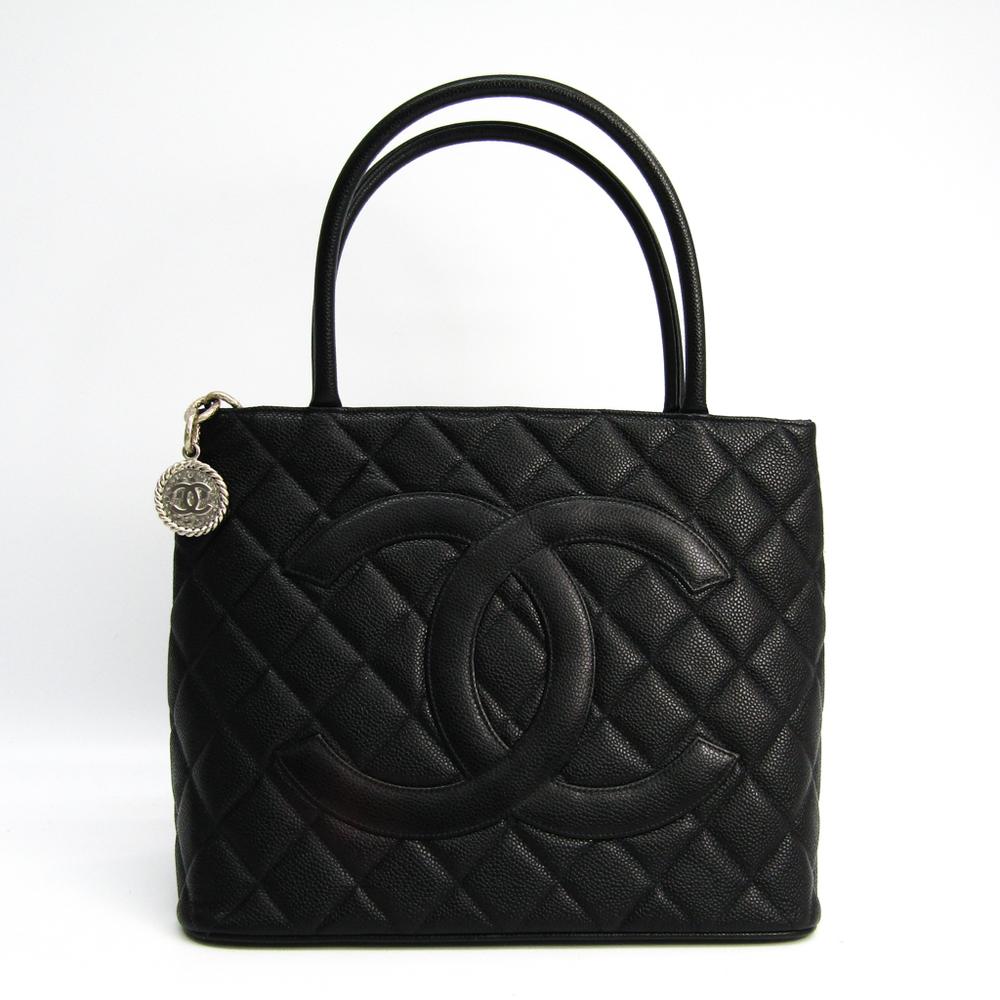 Chanel Caviar Skin 1804 Medallion Tote A01804 Women's Leather Handbag Black
