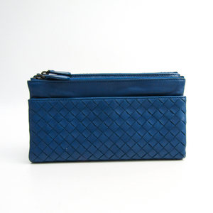 Bottega Veneta Intrecciato 210002 Unisex Leather Long Wallet (bi-fold) Navy