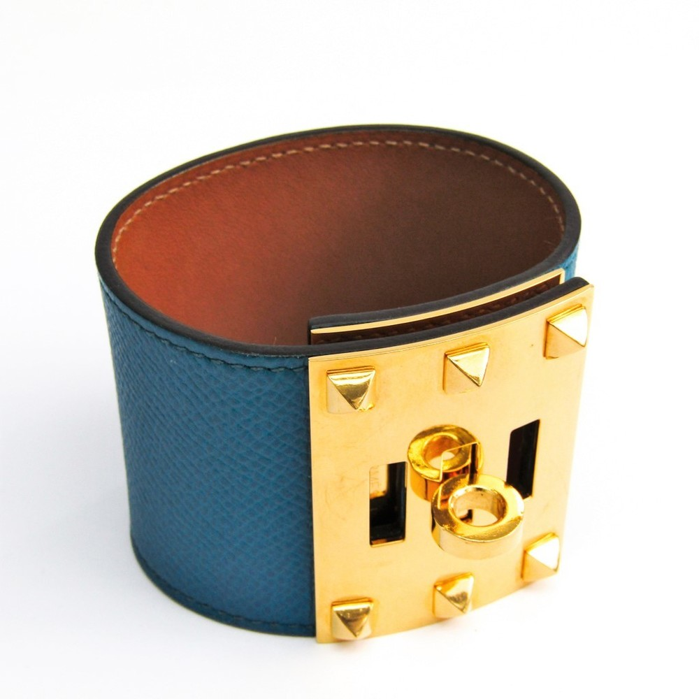 Hermes Kelly Dog Extreme Leather,Metal Bracelet Yellow Gold,Blue
