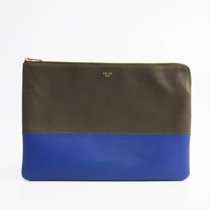 Celine 100093 Women's Leather Clutch Bag Khaki,Blue