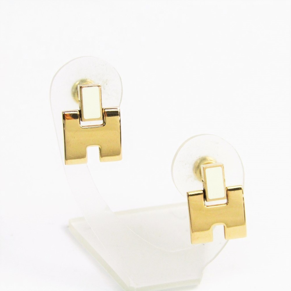 Hermes Eileen 616201 Lacquer,Metal Earrings Pink Gold,White