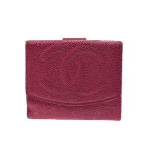シャネル(Chanel) キャビアスキン 財布(二つ折り) ピンク