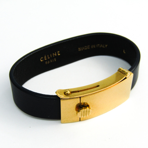 Celine Metal,Leather Bracelet Dark Navy,Gold